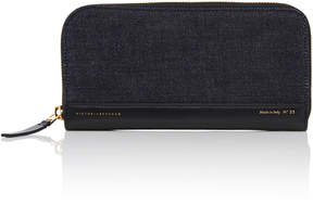 Victoria Beckham Leather-Trimmed Denim Wallet