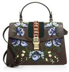Gucci Sylvie Floral-Embroidered Leather Top Handle Bag - LEAD GREY - STYLE