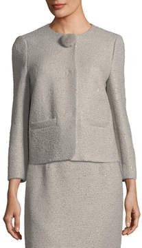 Escada Sequined Tweed Jacket with Fur Pompom