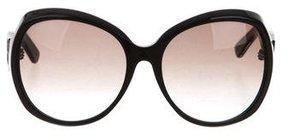 Bottega Veneta Intrecciato-Accented Oversize Sunglasses