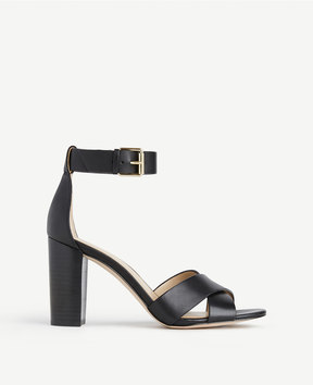 Ann Taylor Gigi Leather Block Heel Sandals
