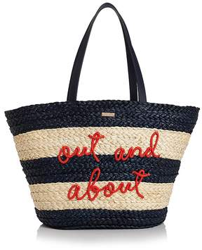 Kate Spade Out & About Straw Tote - NAVY BLUE MULTI/GOLD - STYLE