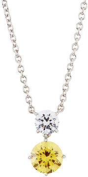 FANTASIA Round Double-Drop CZ Crystal Pendant Necklace