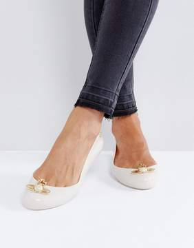 Melissa Space Love Nude Pearl Orb Flat Shoes