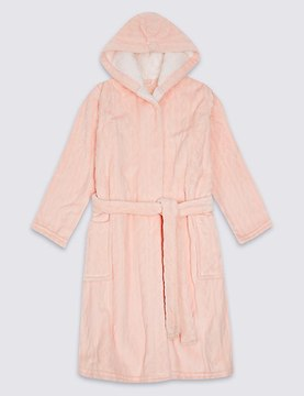 Marks and Spencer Hooded Dressing Gown with Belt (3-16 Years)