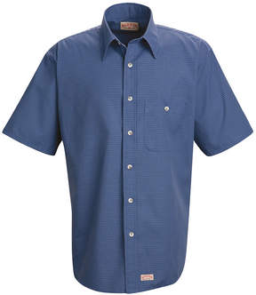 JCPenney Red Kap SP84 Mini Plaid Uniform Men's Shirt-Big & Tall