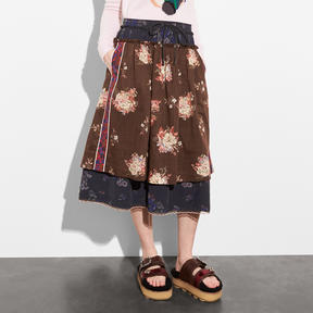 COACH MIXED PRINT LAYERED SKIRT - BROWN MULTICOLOR