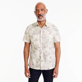J.Crew Wallace & Barnes short-sleeve slub cotton shirt in safari print