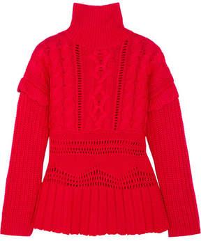 Altuzarra Prelude Cable-knit Wool Turtleneck Sweater - Crimson