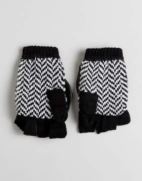Plush Fleece Lined Herringbone Texting Smart Touch Mittens