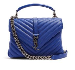 Saint Laurent Collège medium leather shoulder bag - BLUE - STYLE