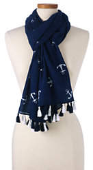Lands' End Women's Tossed Anchor Scarf-Deep Sea/Spiced Berry Stripe