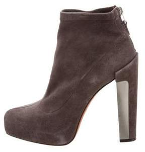 Brian Atwood Suede Round-Toe Ankle Boots