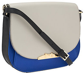 As Is Marc Fisher Harper Leather Saddle Bag with Strap