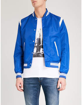 The Kooples Leather-trimmed shell bomber jacket