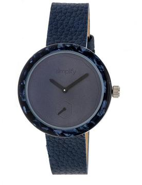 Simplify The 3700 SIM3705 Navy Leather Analog Watch