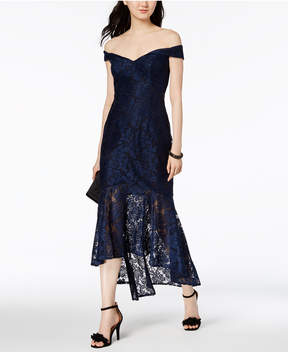 Xscape Evenings Lace Off-The-Shoulder Midi Dress