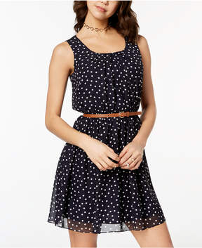 BCX Juniors' Belted Printed Dress