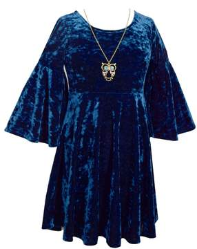 Bonnie Jean Girls Plus Size Crushed Velvet Empire Belle Sleeve Dress with Owl Necklace