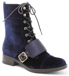 Kensie Carlynn Velvet Lace-Up Boot