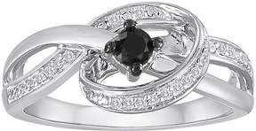 Black Diamond FINE JEWELRY 1/4 CT. T.W. White and Color-Enhanced Sterling Silver Ring