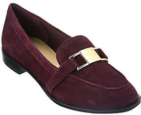 Isaac Mizrahi Live! Suede Loafers withHardware Detail