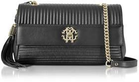 Roberto Cavalli Women's Black Leather Shoulder Bag.