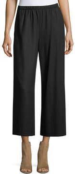 Eileen Fisher Boiled Wool Jersey Wide-Leg Cropped Pants