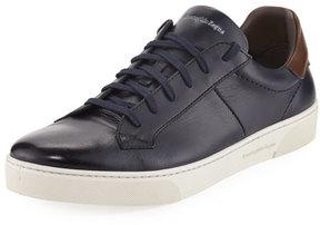 Ermenegildo Zegna Vittorio Men's Leather Low-Top Sneaker, Navy