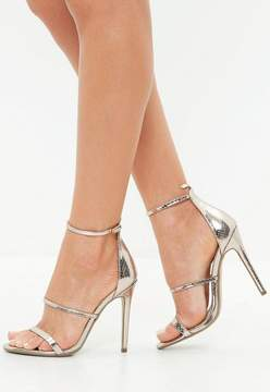 Missguided Gold Barely There Snake Pattern Sandals