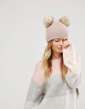 Asos Rib Beanie With Double Faux Fur Pom