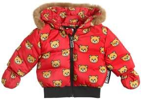 Moschino Bear Print Nylon Down Jacket W/ Lapin