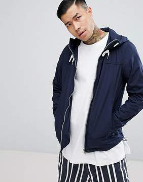 Pull&Bear Zip Through Hooded Jacket In Navy