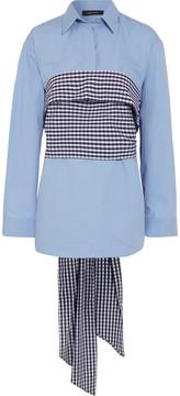 Cédric Charlier Wrap-around Gingham And Cotton-poplin Shirt - Sky blue