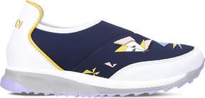 Fendi Butterfly monster eye leather and neoprene slip-on trainers