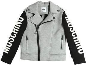 Moschino Logo Printed Neoprene Biker Jacket