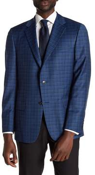 Hickey Freeman Blue Glenplaid Two Button Notch Lapel Wool Sport Coat
