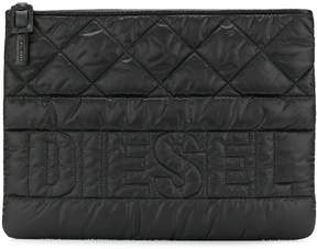 Diesel logo quilted clutch bag