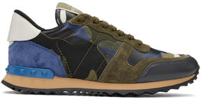 Valentino Green and Blue Garavani Camo Rockrunner Sneakers