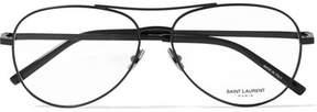Saint Laurent Aviator-style Metal Optical Glasses - Black