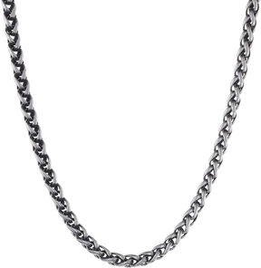JCPenney FINE JEWELRY Mens Stainless Steel & Black IP 24 8mm Wheat Chain