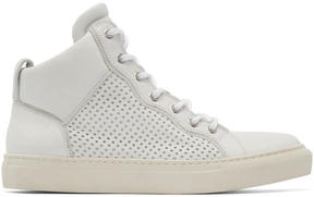 Balmain White Leather Perforated Mid-Top Sneakers