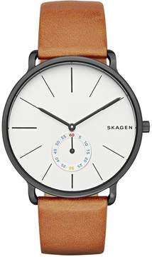 Skagen Men's Analog Hagen Brown Leather Strap Watch 40mm SKW6216