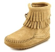 Minnetonka Double Fringe Bootie Round Toe Suede Winter Boot.