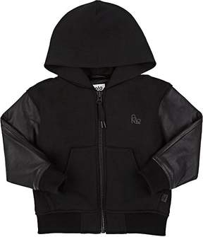 Molo Kids Kids' Leather-Sleeve Cotton-Blend Zip-Front Hoodie
