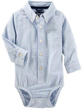 Osh Kosh Baby Boy Uniform Striped Button Down Bodysuit
