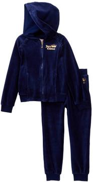 Juicy Couture Navy Velour Heart Hoodie & Pants Set (Toddler Girls)