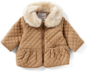 Starting Out Baby Girls 3-9M Quilted Faux Fur Hooded Jacket