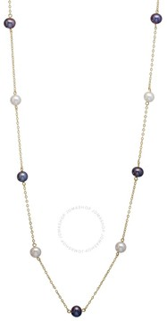 Bella Pearl 10K Gold Floating Black and White Freshwater Pearl Necklace