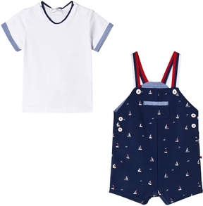 Mayoral White Tee and Navy Sailor Boat Print Dungaree Set
